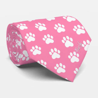 Stylish Hand Drawn Paws Silky Tie | Calm Pink