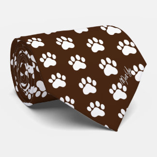Stylish Hand Drawn Paws Silky Tie | Dark Chocolate