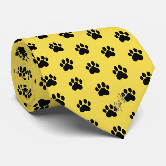 Stylish Hand Drawn Paws Silky Tie | Honey Yellow
