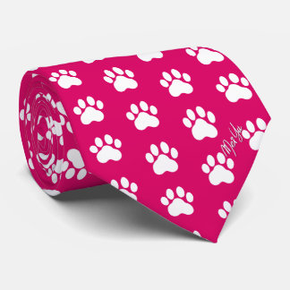 Stylish Hand Drawn Paws Silky Tie | Red Pink