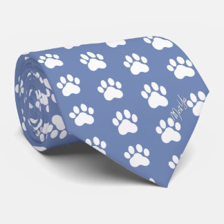 Stylish Hand Drawn Paws Silky Tie | Steel Blue