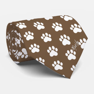 Stylish Hand Drawn Paws Silky Tie | Walnut Brown