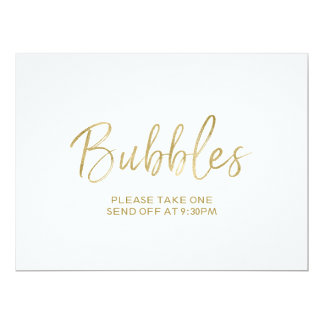 """Stylish Hand Lettered """"Bubbles"""" Send Off  Sign 6.5"""" X 8.75"""" Invitation Card"""