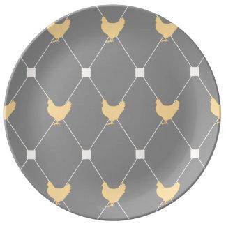 Stylish Harlequin Chicken Pattern Plate
