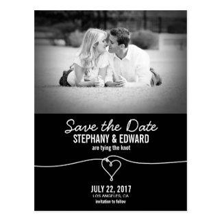 Stylish Heart Knot Save the Date Photo Postcard