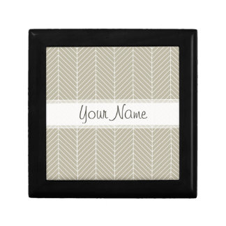 Stylish Herringbone Chevrons Pattern in Beige Gift Box