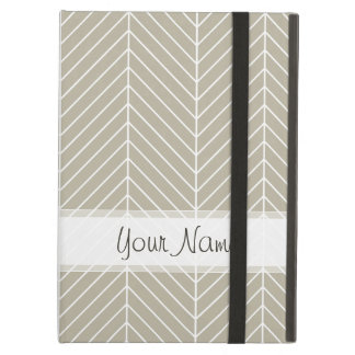 Stylish Herringbone Chevrons Pattern in Beige iPad Air Cover
