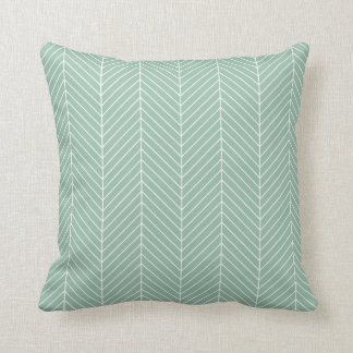 Stylish Herringbone Chevrons Pattern in Green Throw Pillow