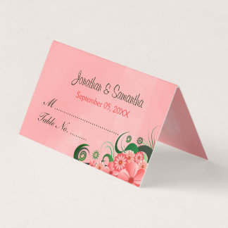 Stylish Hibiscus Floral Dark Pink Wedding Table Place Card