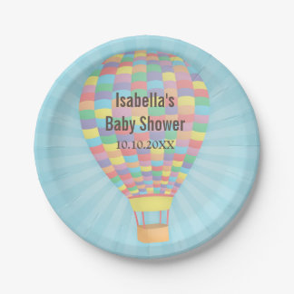 Stylish Hot Air Balloon Baby Shower Supplies Paper Plate