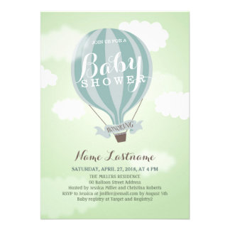 Stylish Hot Air Balloon Boy Baby Shower Invite Cards