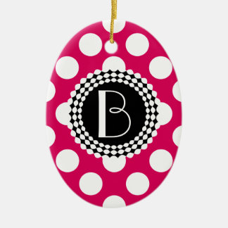 Stylish Hot Pink and White Polka Dots Pattern Ceramic Oval Ornament