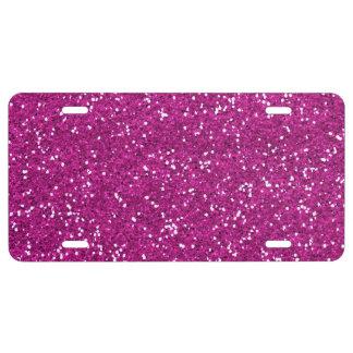 Stylish Hot Pink Glitter License Plate