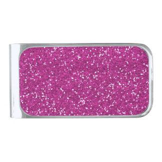 Stylish Hot Pink Glitter Silver Finish Money Clip