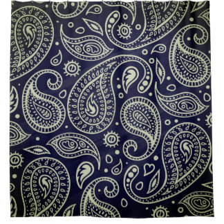 Stylish Indigo Blue Boho Paisley | Shower Curtain