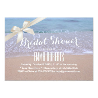 "Stylish Ivory Ribbon Beach Theme Bridal Shower 5"" X 7"" Invitation Card"