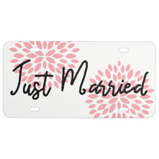 Stylish Just Married Pink Black And White License Plate
