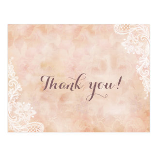 Stylish Lace Roses Old Paper Wedding Thank you Postcard