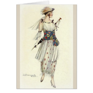 Stylish Lady Out for a Walk, Card