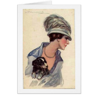 Stylish Lady with Puppy, Card