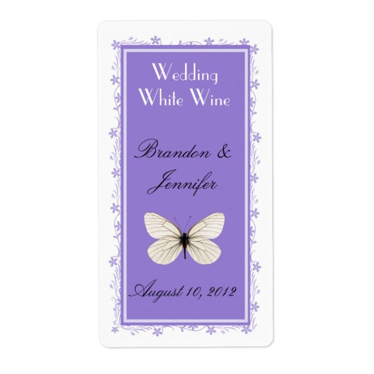 Stylish Lavender Wedding Mini Wine Labels