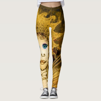 Stylish Leggings with a Wrapped Gold-Yellow Fairy