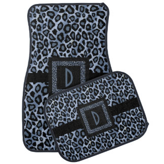Stylish Leopard Animal Print Pattern | Blue Floor Mat