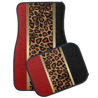 Stylish Leopard Animal Print Pattern | Dark Red Car Mat