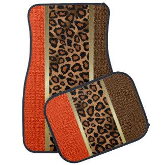 Stylish Leopard Animal Print Pattern | Orange Car Liners