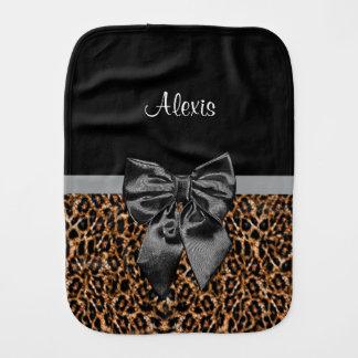 Stylish Leopard Print Elegant Black Bow and Name Baby Burp Cloths