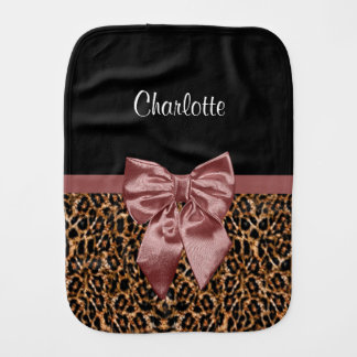Stylish Leopard Print Elegant Brown Bow and Name Baby Burp Cloths