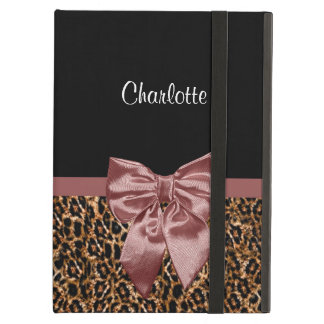 Stylish Leopard Print Elegant Brown Bow and Name iPad Air Cases