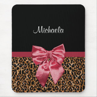 Stylish Leopard Print Elegant Red Bow and Name Mouse Pad