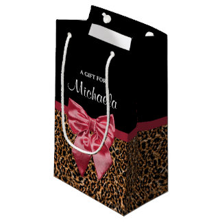 Stylish Leopard Print Elegant Red Bow and Name Small Gift Bag