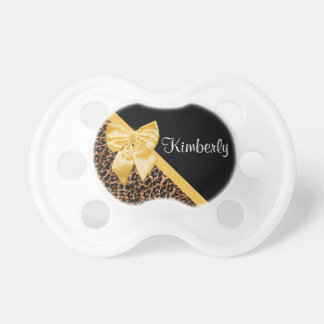 Stylish Leopard Print Elegant Yellow Bow and Name Baby Pacifiers