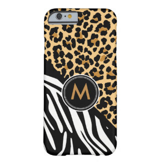 Stylish Leopard Zebra Print Monogram iPhone Case