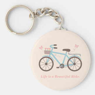 Stylish Life is a Beautiful Ride Bicycle Quote Keychain