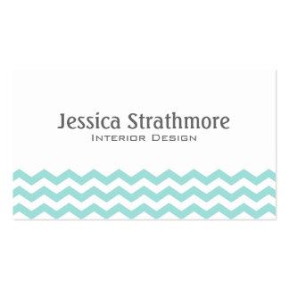 Stylish Light Aqua Chevron Stripes Business Card Templates