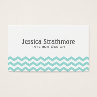 Stylish Light Aqua Chevron Stripes Business Card
