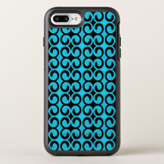 Stylish Light Blue and Black Pattern OtterBox Symmetry iPhone 7 Plus Case