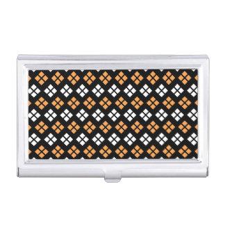Stylish Light Orange & White Argyle Pattern Business Card Holder