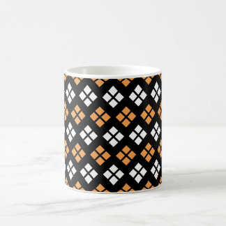 Stylish Light Orange & White Argyle Pattern Coffee Mug