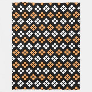 Stylish Light Orange & White Argyle Pattern Fleece Blanket