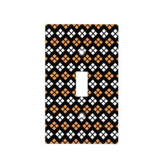 Stylish Light Orange & White Argyle Pattern Light Switch Cover
