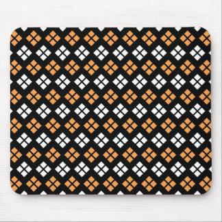 Stylish Light Orange & White Argyle Pattern Mouse Pad