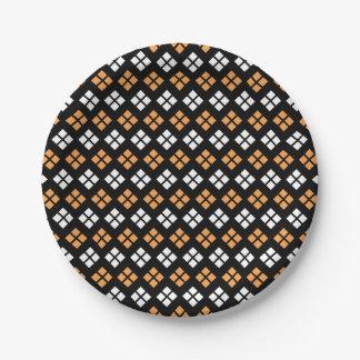 Stylish Light Orange & White Argyle Pattern Paper Plate