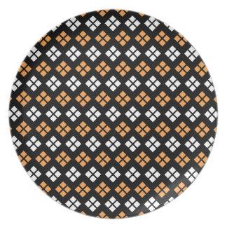 Stylish Light Orange & White Argyle Pattern Plate