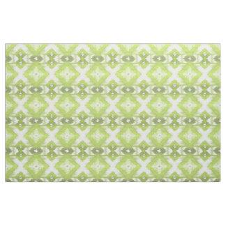 Stylish Lime Olive Green White Ikat Tribal Pattern Fabric