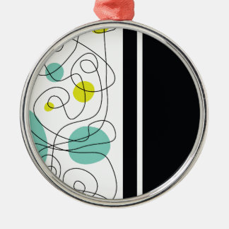 Stylish Lines Silver-Colored Round Ornament