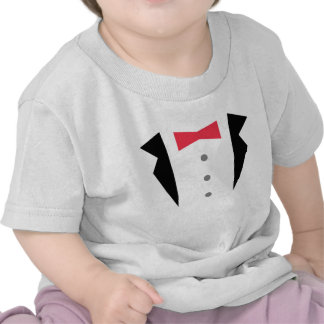 Stylish Little Gentleman Tuxedo With Red Bow Tie Tees